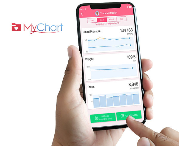 MyChart logo and image of app on a phone