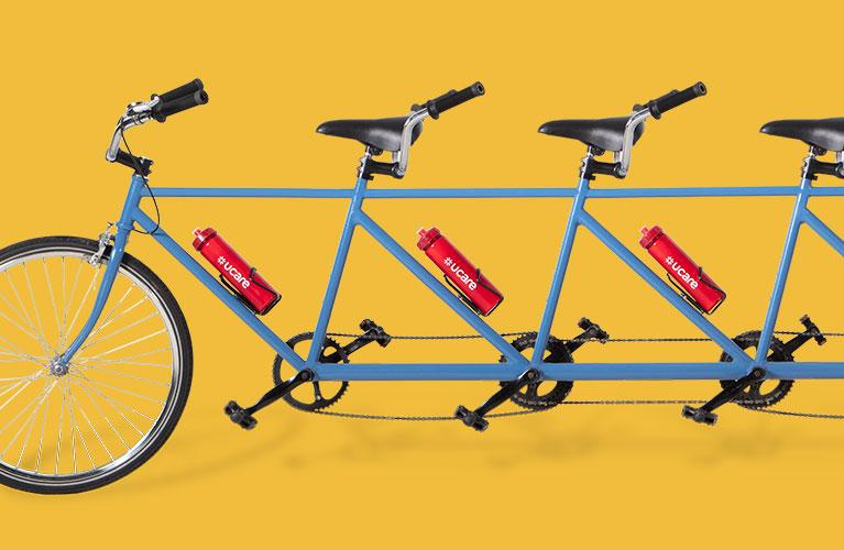UCare bike on yellow background