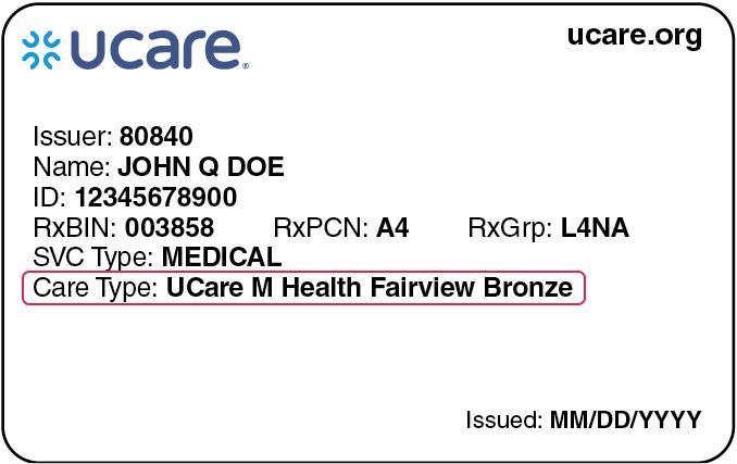 sample UCare member identification card