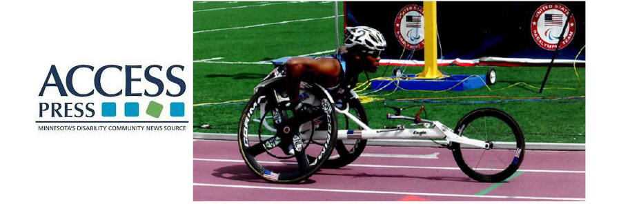 Access Press logo and image of wheelchair cyclist racer