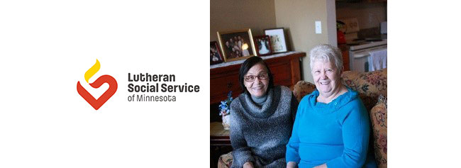 Lutheran Social Services logo and image of two women smiling