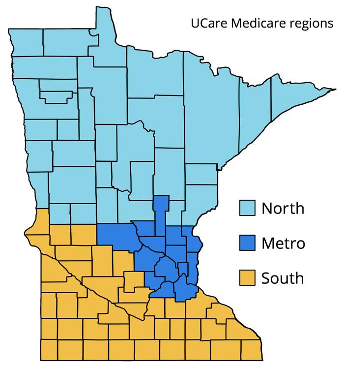 map of UCare Medicare regions